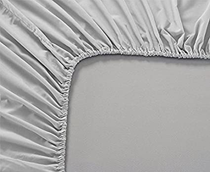 Premium Quality 1 Piece Fitted Sheet (Bottom Sheet Only) 8' inches Deep Pocket 800 Thread Count 100% Pure Egyptian Cotton Solid Pattern Queen Light Grey Scala pk8fitted48