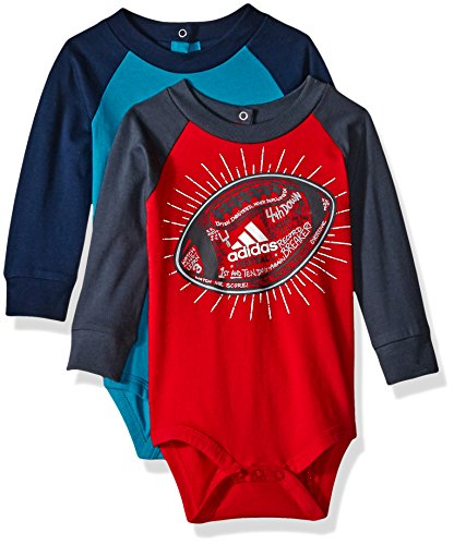 Adidas Baby Boys' Single and 2 Pack Bodysuits, Blue/Red, 12 Months