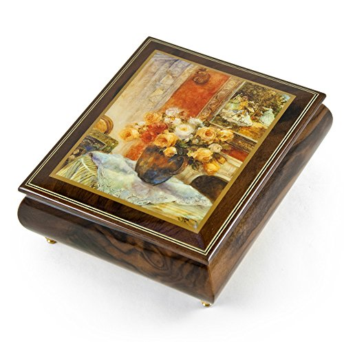 Handcrafted Ercolano Music Box with Painted Scene Roses from Monet's Garden by Lena Liu - Over 400 Song Choices - Can't Help Falling in Love with You