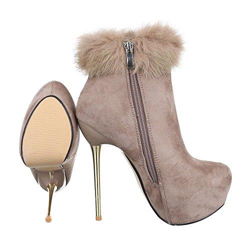 Stiefeletten Damen Ital Heel Beige Heels 1 Pfennig Stiefeletten Schlupfstiefel Stilettoabsatz Design 32003 Schuhe High High Reißverschluss qr7wrpI