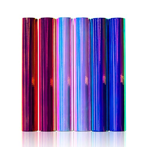 6-Pack of Opal Holographic Vinyl Sheets (Blue, Pink and White) - 12 x 12 - Permanent Adhesive Vinyl Sheets That Work with Cricut, Silhouette, Graphtec, Pazzles, Inspirations, Quickutz and More