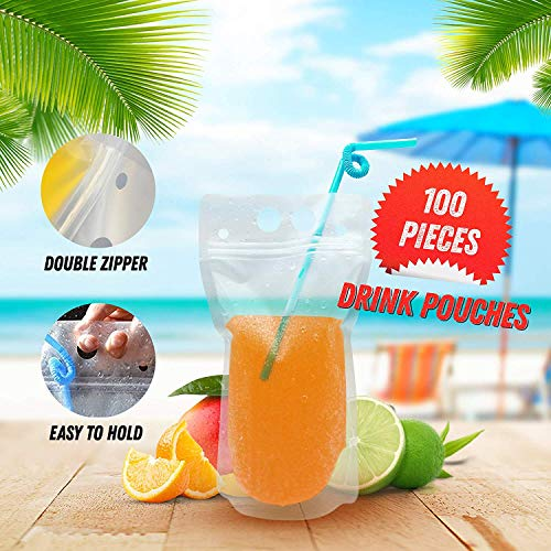 59c181923907 100 PCS Drink Pouches with Straw - Reusable Juice Pouches with ...