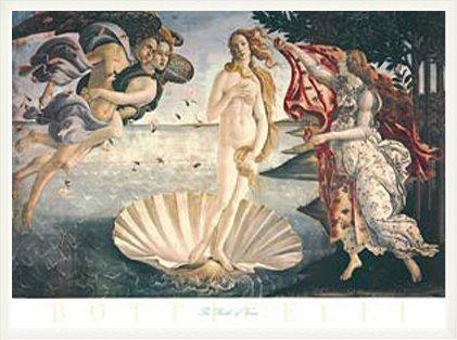 ポスター サンドロ ボッティチェリ ヴィーナスの誕生 額装品 ウッドベーシックフレーム(ホワイト)