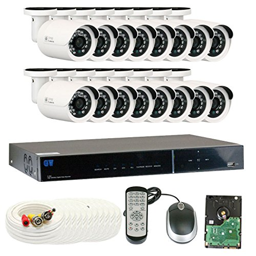 GW Security VD16C16CH37HD 16 Channel 960H DVR Surveillance System with 16 x 850TVL Outdoor or Indoor Analog Security Cameras, 2 TB HDD Pre-installed