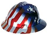 MSA 10071157 V-Gard Hard Hat Front Brim with Ratchet Suspension, Standard, Stars & Stripes