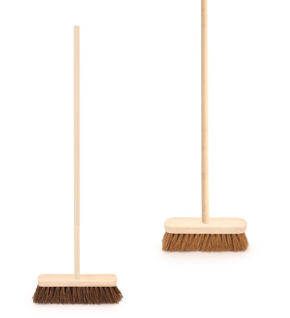 Twin Pack of Traditional Wooden Sweeping Brushes - Stiff Outdoor Yard Sweeping Brush and Soft Coco Broom with Handles - 10' Wide