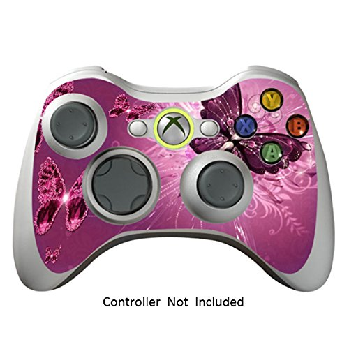 Skin Stickers for Xbox 360 Controller - Vinyl High Gloss Sticker for X360 Slim Wired Wireless Game Controllers - Protector Stickers Controller Decal - Lavender Butterflies [ Controller Not Included ]