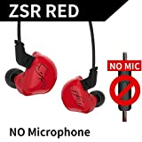 KZ ZSR Six Drivers In Ear Earphone Armature And Dynamic Hybrid Headset HIFI Bass With Replaced Cable Noise Cancelling Earbuds (Without Mic, Red)