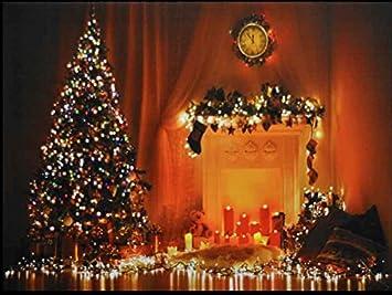 Weihnachtsbilder Kamin.Bild Mit Weihnachtlichem Motiv Leuchtende Dekoration Mit Weihnachtsbaum Und Kamin Led Leinwand
