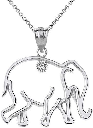 Women's Pendant 14K Gold Finish Sterling Silver LUCKY ELEPHANT With Chain