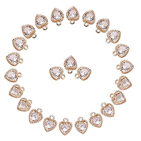 PandaHall 1Bag About 100 Pcs Cubic Zirconia Alloy Heart Shape Charms Sets for Jewelry Making Size 10x8.5x5mm KC - Heart Charm Jewelry Finding