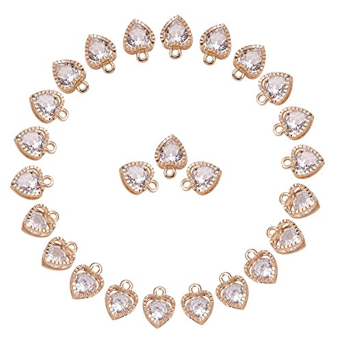 PH PandaHall 1Bag About 100 Pcs Cubic Zirconia Alloy Heart Shape Charms Sets for Jewelry Making Size 10x8.5x5mm KC Gold]()