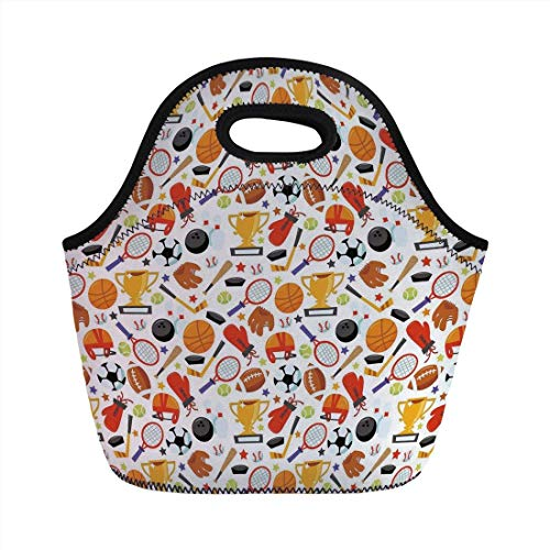 Portable Bento Lunch Bag,Sport,Abstract Cartoon Style Sporting Goods Tennis Racket Ball Bowling Star Filled Pattern Decorative,Multicolor,for Kids Adult Thermal Insulated Tote Bags