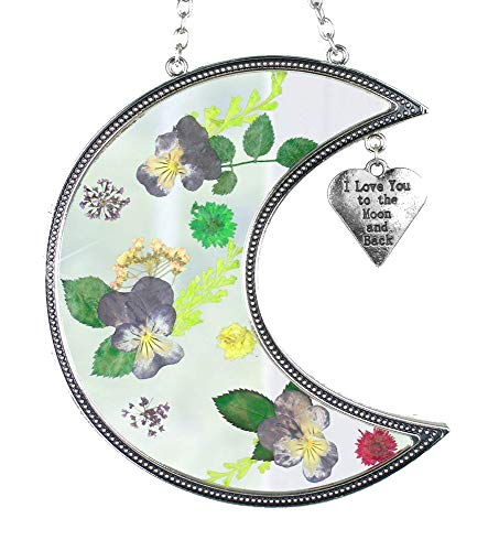 - I Love You to The Moon and Back Suncatcher with Real Pressed Flowers in Glass and Silver Metal Heart Shaped Charm - Gift for Your Loved One