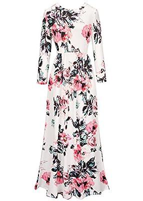 Ruiyige Women Floral Print Long Sleeve Boho Dress Ladies Evening Party Long Maxi Dress