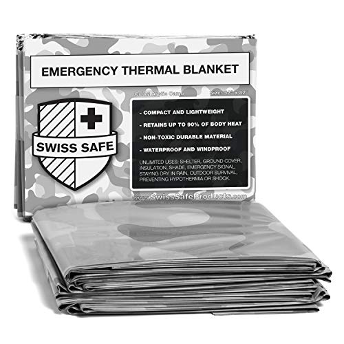 Swiss Safe Camouflage Emergency Mylar Blankets – Perfect for Outdoor Camping
