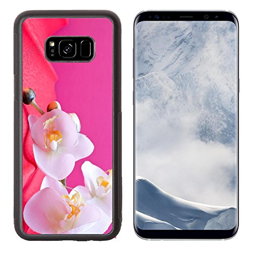 Liili Premium Samsung Galaxy S8 Plus Aluminum Backplate Bumper Snap Case romantic pink background with orchid and copyspace IMAGE ID (Dusky Orchid)