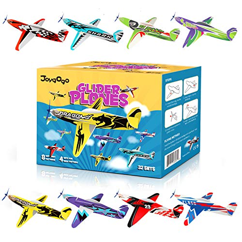 Joygogo 32 Pack Glider Planes,8 Long Flying Glider Plane,8 Different Designs,Easy Assembly,Durable Quality-Kids Party Favors for Valentines Airplanes,Birthday Party, Carnival Prizes