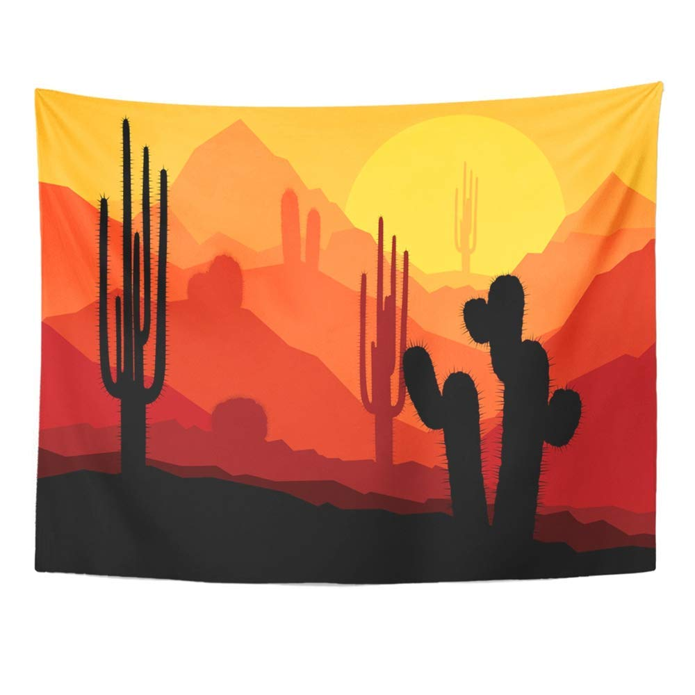 Red Western Cactus Plants in Desert Sunset Colorful Arizona Landscape Mexican 60 x 80 Home Decor Art Tapestries for Bedroom Living Room Dorm Apartment Art Decor Wall Tapestry Wall Hanging