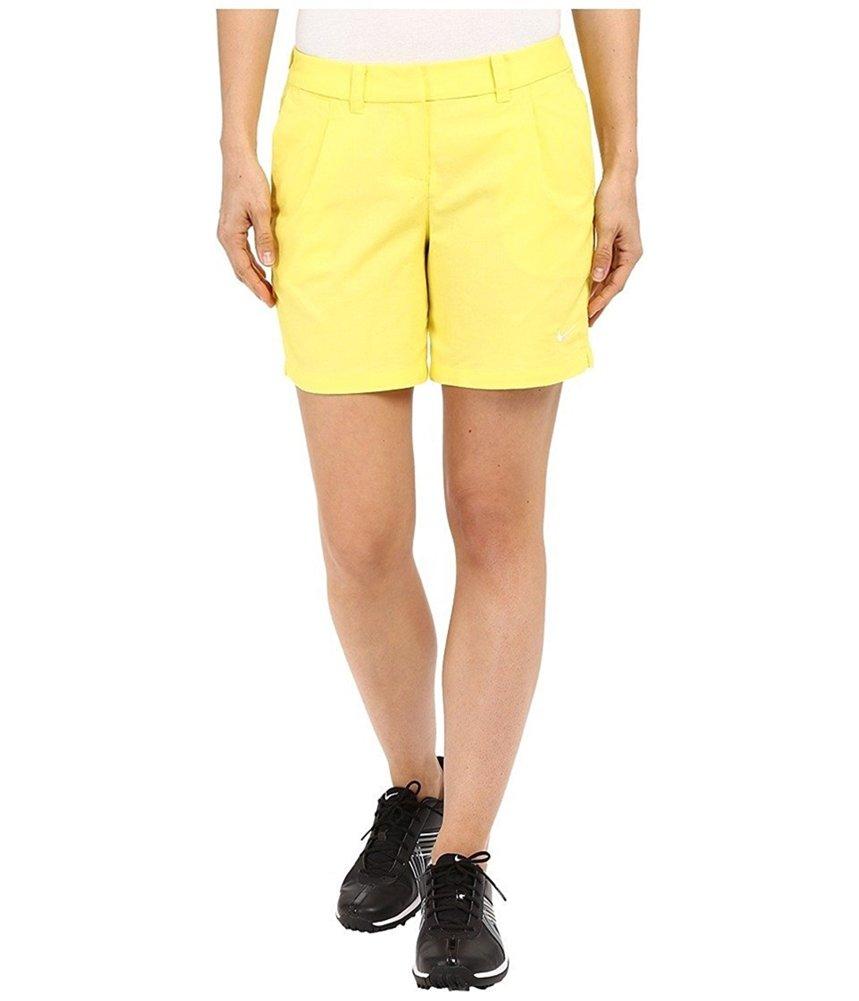 New Womens Nike Golf Dri-Fit Oxford Shorts (0 6, Yellow)