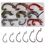 Shaddock Fishing 180pcs/box 6 Size 7316 2X Strong Offset Worm Hooks High Carbon Steel Sport Circle Fishing Hooks Jig Fish Hook Set for Saltwater Fishing