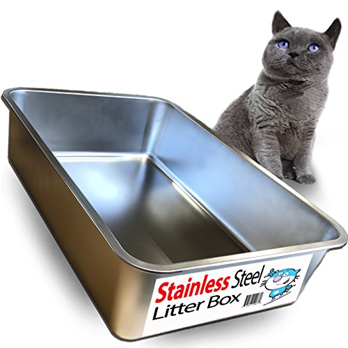 Ultimate Stainless Steel Cat XL Litter Box - Never Absorbs Odor, Stains, or Rusts - No Residue Build Up - Easy Cleaning Litterbox designed by Cat Owners - by iPrimio (1 Pan) (Warranty Xl Box)