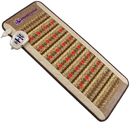 "Amethyst Jade Tourmaline FIR PEMF Photon Mat - Midsize 59''L x 24""W - Adjustable 86-158F Far InfraRed Heating -Bio Stimulation Red Light - Ion - Pulsed Magnetic Therapy - FDA Registered Manufacturer by MediCrystal"