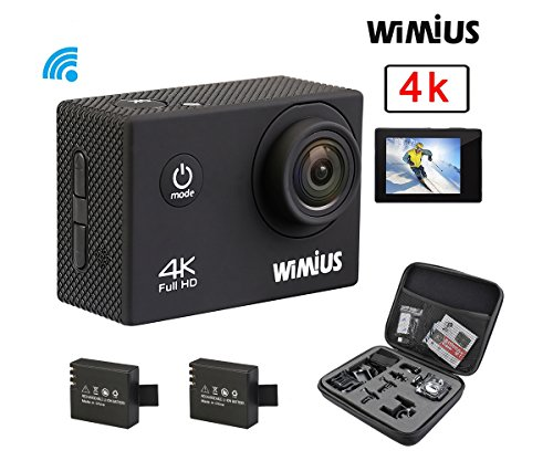 WiMiUS Q1 4K Wifi 130ft Waterproof Action Camera With 16 MP,170° Wide Angle, 2.0'' LCD Screen+20 All In One Kit Set(Black) Action Cameras WiMiUS®