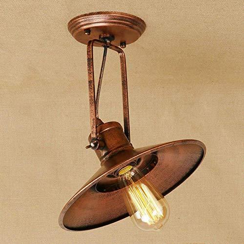 ZY Retro Plafonnier Fer Vintage Vintage Plafonnier Décoration Antique Plafond éclairage Cuisine Cuisine Hall d'entrée Lampe Plafonnier Intérieur Lampe E27 éclairage 1 Ampoule Edison Flame, Rouille