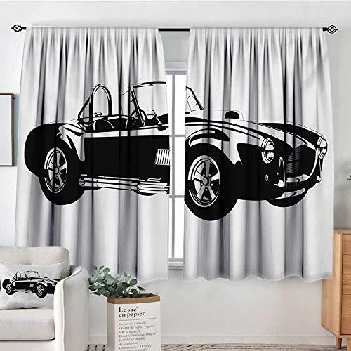Mozenou Cars Waterproof Window Curtain Silhouette Classic Sport Car Ac Cobra Roadster American Antique Engine Autosport Customized Curtains 63