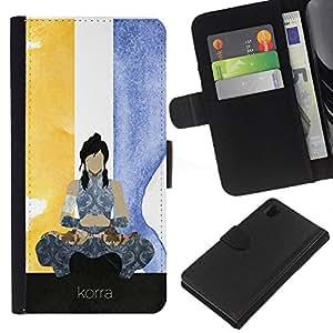 Protector de cuero de la PU de la cubierta del estilo de la carpeta del tirón BY RAYDREAMMM - Sony Xperia Z1 L39 - Korra póster