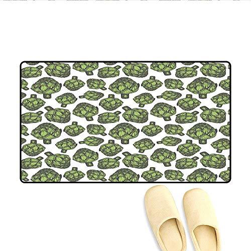 Doormat Detailed Drawing Of Super Foods Fresh Vitamin Sources Natural Nutrition Source Bath Mat 3d Digital Printing Mat Forest Green 24x36