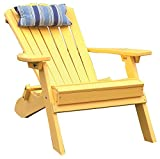 YELLOW POLYWOOD FOLDING RECLINING ADIRONDACK CHAIR PORCH and PATIO SEATING, Poly Wood Outdoor Foldable Chairs, Perfect for Front Entry & Back Yard, Fire Pit & Pool Side, 12 Color Choices (Sunshine) Review