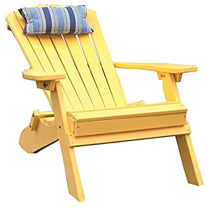 amazon com yellow polywood folding reclining adirondack chair