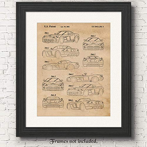 Original Dodge Viper R/T Patent Poster Prints- Set of 1 (One 11x14) Unframed Photo- Great Wall Art Decor Gifts Under $15 for Home, Office, Studio, Shop, Garage, Man Cave, Showroom, Car & Coffee Fan
