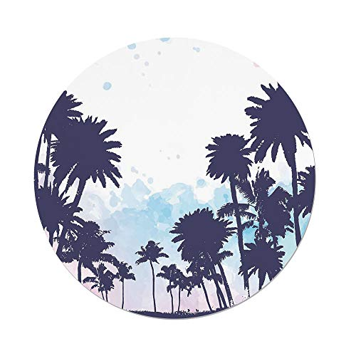 Polyester Round Tablecloth,Apartment Decor,Miami South American Plant Forest Tropic Natural Palm Trees Art Print,Blue and White,Dining Room Kitchen Picnic Table Cloth Cover,for Outdoor Indoor