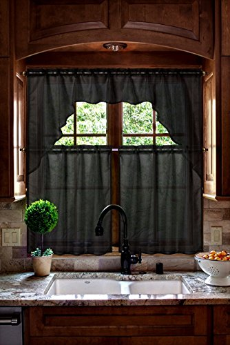 GorgeousHomeLinen (#66) New Kitchen Sheer Collection 3pc Set Voile Kitchen Curtain Window Dressing in Solid Colors No Blackout (Black)