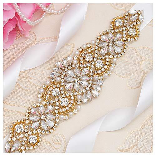 Yanstar Handmade Bridal Belt Wedding Belts Sashes Rhinestone Crystal Beads Belt For Bridal Gowns (Gold-Off White)
