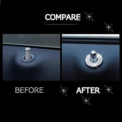 Pikki Blue Bling Inner Car Door Lock Shiny Sparkles Auto Car Door Lock Stickers Women C Class Accessories