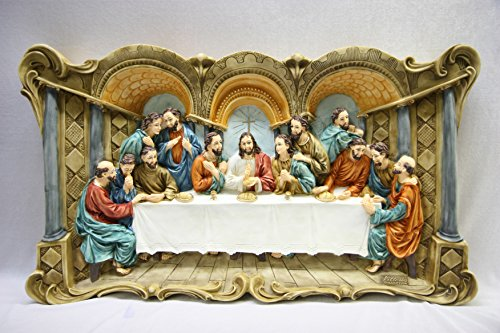 Large Wall Plate Plaque of The Last Supper Jesus Christ Catholic Statue 3D by Vittoria Collection Made in Italy by Vittoria Collection