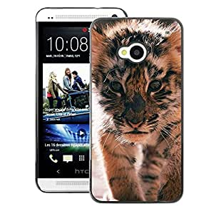 A-type Arte & diseño plástico duro Fundas Cover Cubre Hard Case Cover para HTC One M7 (Tiger Cub Roar Cute Puppy Animal Furry)