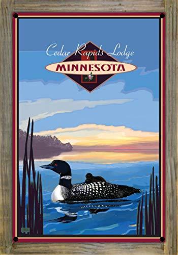 Northwest Art Mall Cedar Rapids Lodge Minnesota Loon Metal Print on Reclaimed Barn Wood by Joanne Kollman (12