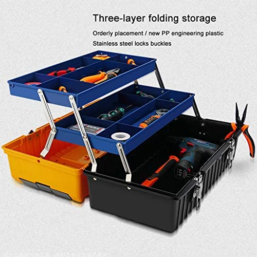 Tool Boxes 17-inch Multi-function 3 Layer Toolbox Household Plastic Tool Storage Box Folding Storage Box Stainless Steel Lock and Buckle Tool storage (Size : M)
