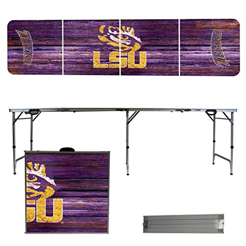Victory Tailgate NCAA Louisiana State University 8'x2' Foldable Tailgate Table with Adjustable Hight and Spill Resistant Sealant - Weathered Series