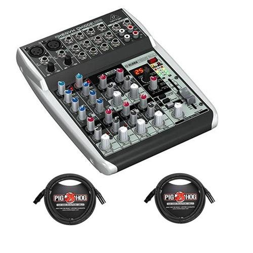 Behringer Xenyx QX1002USB Premium 10-Input 2-Bus Mixer with Xenyx Mic Preamps and Compressors, British EQs, 24-Bit Multi-FX Processor and USB/Audio Interface - With 2 Pack 15' 8mm XLR Microphone Cable