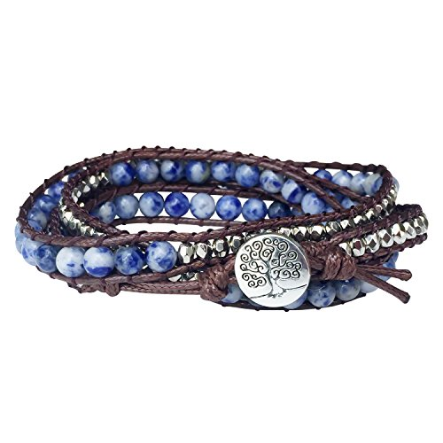 Tree Of Life Bracelet Blue Sodalite Beaded Wrap