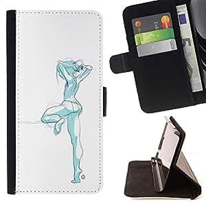Momo Phone Case / Flip Funda de Cuero Case Cover - Fashion Design Girl Blue - Huawei Ascend P8 (Not for P8 Lite)