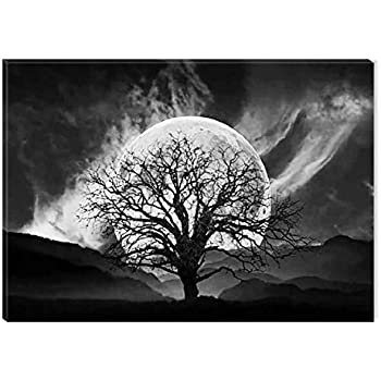 startonight canvas wall art black and white abstract big moon and old tree dual view surprise artwork modern framed ready to hang wall art 100 original