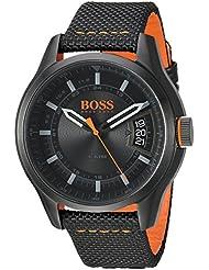 HUGO BOSS Mens HONG KONG SPORT Quartz Resin and Nylon Casual Watch, Color:Black (Model: 1550003)