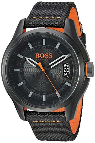HUGO BOSS Men's 'HONG KONG SPORT' Quartz Resin and Nylon Casual Watch, Color:Black (Model: 1550003)